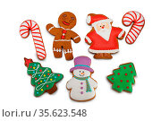 Collection of Christmas gingerbread cookies isolated on white background... Стоковое фото, фотограф Zoonar.com/Ivan Mikhaylov / easy Fotostock / Фотобанк Лори