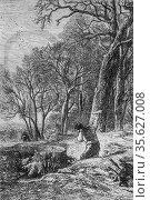 The stump puller, le magazin pitoresque by edouard charton, 1870. (2009 год). Редакционное фото, фотограф Louis Bertrand / age Fotostock / Фотобанк Лори