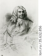 George Frederic Handel (1685-1759) German Baroque composer who settled... Редакционное фото, агентство World History Archive / Фотобанк Лори