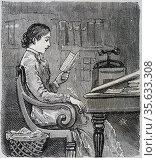 Lady editor replying to correspondence. Engraving 1885. Редакционное фото, агентство World History Archive / Фотобанк Лори