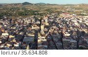 View from drone of Spanish town of Yecla. Spain. Стоковое видео, видеограф Яков Филимонов / Фотобанк Лори
