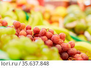 Rote Weintrauben liegen zum Verkauf im Supermarkt. Стоковое фото, фотограф Zoonar.com/Robert Kneschke / age Fotostock / Фотобанк Лори