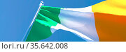 3D rendering of the national flag of Ireland waving in the wind against... Стоковое фото, фотограф Zoonar.com/Aleksey Butenkov / easy Fotostock / Фотобанк Лори