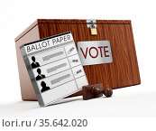 Ballot box, stamp and ballot paper on white background. Стоковое фото, фотограф Zoonar.com/Cigdem Simsek / easy Fotostock / Фотобанк Лори