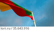 3d rendering of the national flag of the Lithuania in the evening... Стоковое фото, фотограф Zoonar.com/Aleksey Butenkov / easy Fotostock / Фотобанк Лори