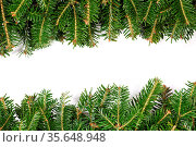 Natural fir Christmas tree border frame isolated on white , copy space... Стоковое фото, фотограф Zoonar.com/Ivan Mikhaylov / easy Fotostock / Фотобанк Лори