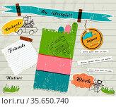 Scrapbook details set. vector illustration EPS 10. Стоковое фото, фотограф Zoonar.com/yunna gorskaya / easy Fotostock / Фотобанк Лори