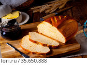 White bread with butter and delicious jam. Стоковое фото, фотограф Zoonar.com/Darius Dzinnik / easy Fotostock / Фотобанк Лори