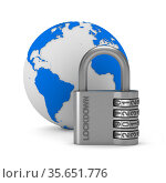Metallic padlock with text lockdown on white background. isolated 3d illustration. Стоковая иллюстрация, иллюстратор Ильин Сергей / Фотобанк Лори