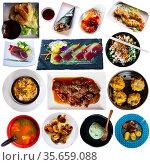 Set of Japanese food collage on white background. Стоковое фото, фотограф Яков Филимонов / Фотобанк Лори