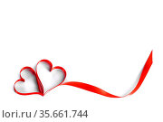 Heart shaped red ribbon isolated on white background Valentines day... Стоковое фото, фотограф Zoonar.com/Ivan Mikhaylov / easy Fotostock / Фотобанк Лори