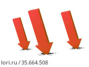 Concept of economic crisis with chart - 3d rendering. Стоковое фото, фотограф Elnur / Фотобанк Лори