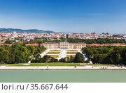 Panorama of the Schönbrunn Palace and city Vienna, top view. Austria (2012 год). Стоковое фото, фотограф Наталья Волкова / Фотобанк Лори