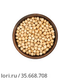 Chickpea in clay bowl isolated on white background, top view. Стоковое фото, фотограф Евгений Харитонов / Фотобанк Лори