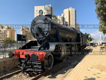 Historic steam locomotive stands at the restored railway station in Beer Sheva
