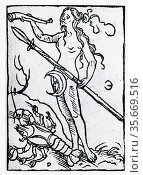 Planetary figure of the Moon. From 'Sphaera mundi', Strasburg, 1539. Редакционное фото, агентство World History Archive / Фотобанк Лори