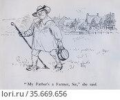 My Father's a Farmer, Sir, she said.'  Illustration by Randolph Caldecott for the Nursery Rhyme 'The Milkmaid'. Редакционное фото, агентство World History Archive / Фотобанк Лори