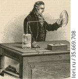 Pierre-Joseph Macquer's (1711-1784) , French chemist, experiment on synthesising water (1781). Редакционное фото, агентство World History Archive / Фотобанк Лори
