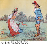 Then I can't marry you, my Pretty Maid!'   Illustration by Randolph Caldecott for the Nursery Rhyme 'The Milkmaid'. Редакционное фото, агентство World History Archive / Фотобанк Лори
