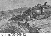 Spreading cod on rocks to dry - Labrador, 1883. Редакционное фото, агентство World History Archive / Фотобанк Лори