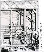 Gang saw powered by man turning a crank handle. From 'Theatrum machinarum novum', Nuremberg 1673. Редакционное фото, агентство World History Archive / Фотобанк Лори