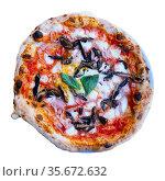 Italian pizza with tomato sauce, cheese, ham and mushrooms. Стоковое фото, фотограф Яков Филимонов / Фотобанк Лори