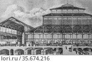 Halles centralles de paris, the picturesque store by m. edouard charton... (2009 год). Редакционное фото, фотограф Louis Bertrand / age Fotostock / Фотобанк Лори