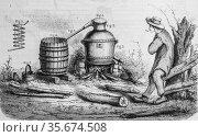 Rustic distillery, the picturesque store by m. edouard charton 1870. (2009 год). Редакционное фото, фотограф Louis Bertrand / age Fotostock / Фотобанк Лори