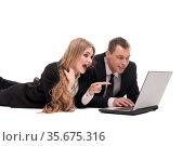 Delighted business partners using modern laptop together. Стоковое фото, фотограф Гурьянов Андрей / Фотобанк Лори