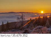 Sunrise in winter landscape near Velka Destna, Orlicke mountains,... Стоковое фото, фотограф Richard Semik / easy Fotostock / Фотобанк Лори