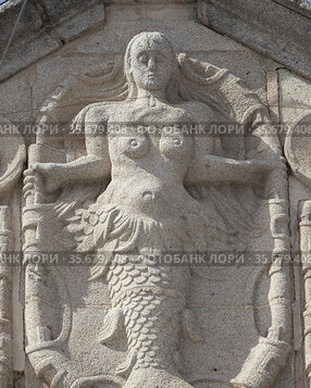 Coats of arms with mermaid relief at Villanueva de la Serena, Badajoz...