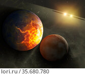 This artist's concept illustrates an imminent planetary collision... Редакционное фото, агентство World History Archive / Фотобанк Лори