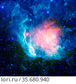 NASA's WISE, shows a cosmic nebula blossoming with new stars. The... Редакционное фото, агентство World History Archive / Фотобанк Лори