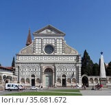The Basilica of Santa Maria Novella, a church in Florence, Italy famous for it's detailed façade. Редакционное фото, агентство World History Archive / Фотобанк Лори
