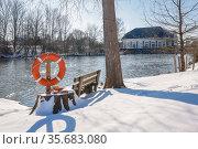 Winter landscape, Lippe, Hamm, Ruhr area, North Rhine-Westphalia, Germany. Редакционное фото, агентство Caro Photoagency / Фотобанк Лори
