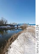 Winter landscape, Lippe, Dorsten, Ruhr area, North Rhine-Westphalia, Germany. Редакционное фото, агентство Caro Photoagency / Фотобанк Лори