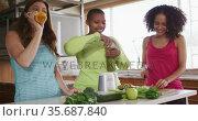 Diverse happy female friends trying healthy drinks at home. Стоковое видео, агентство Wavebreak Media / Фотобанк Лори