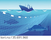Fishing in the sea. Стоковая иллюстрация, иллюстратор Валентина Шибеко / Фотобанк Лори