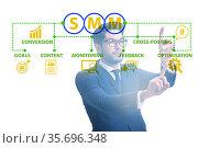 Businessman pressing button in SMM concept. Стоковое фото, фотограф Elnur / Фотобанк Лори