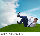 Happy businessman is excited from new business opportunity. Стоковое фото, фотограф Elnur / Фотобанк Лори