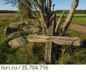 Poland. Podlasie region.Eastern Poland. Old cross. Стоковое фото, фотограф Piotr Ciesla / age Fotostock / Фотобанк Лори