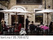 A view of the bar Antico Caffe' Greco in Via Condotti in Rome. Lazio... Редакционное фото, фотограф Alessandro Serrano' / AGF/Alessandro Serrano' / / age Fotostock / Фотобанк Лори