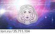 Illustration of black and white virgo zodiac star sign over stars on pink to purple background. Стоковое фото, агентство Wavebreak Media / Фотобанк Лори