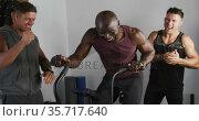 Diverse group of three fit men cross training inside gym. Стоковое видео, агентство Wavebreak Media / Фотобанк Лори