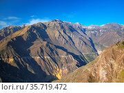 View of Colca Canyon from overlook near Cabanaconde in Peru. It is... Стоковое фото, фотограф Zoonar.com/Don Mammoser / age Fotostock / Фотобанк Лори