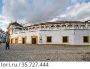 The Plaza de toros de la Real Maestranza de Caballeria de Sevilla (2019 год). Стоковое фото, фотограф Юлия Белоусова / Фотобанк Лори
