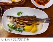 Tasty sea bass with onion, lemon and parsley. Стоковое фото, фотограф Яков Филимонов / Фотобанк Лори