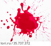 Splash of red paint on white surface. Стоковое фото, фотограф Яков Филимонов / Фотобанк Лори