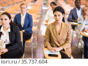 Group of people listening to business training in conference room. Стоковое фото, фотограф Яков Филимонов / Фотобанк Лори