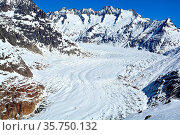 The Aletsch Glacier dominated by the Wannenhorn in the Bernese Alps... Стоковое фото, фотограф Neil Harrison / age Fotostock / Фотобанк Лори